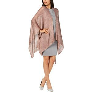 INC Mauve Sequin Knit Evening Wrap 45x55 NEW